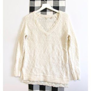 Anthropologie Knitted & Knotted sweater, lace trim